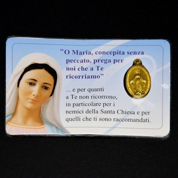 Card Plastificata Madonna...