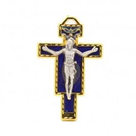 Croce Smaltata Blu con Colomba