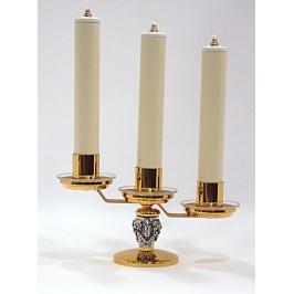 Candeliere tre fiamme ottone