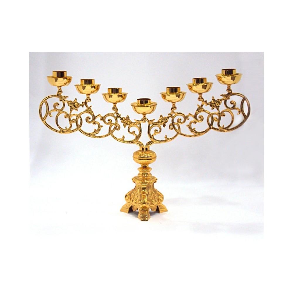 Candeliere sette fiamme ottone