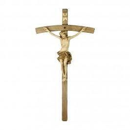 Croce Curva con Cristo in Legno Brunito