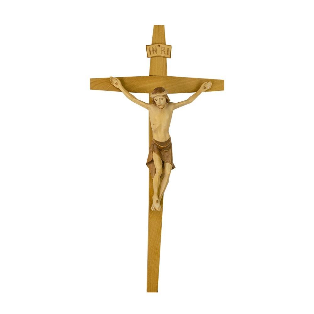 Crocifisso e Cristo Moderno Legno Brunito