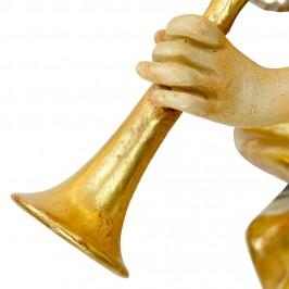 Angelo Con Tromba in Legno Antichizzato