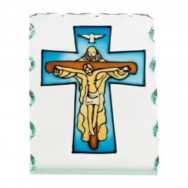 Quadro Sacro in Vetro con Croce Dipinta