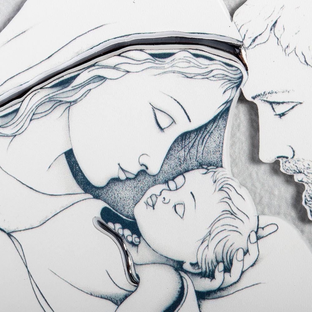 Quadretto in Legno Bianco Sacra Famiglia