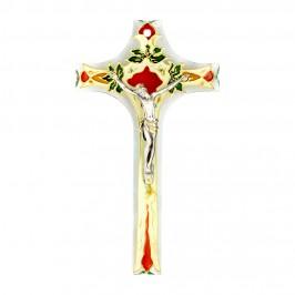 Crocifisso Vetro e Cristo Bagno Argento