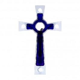 Crocifisso in Vetro Murano Blu