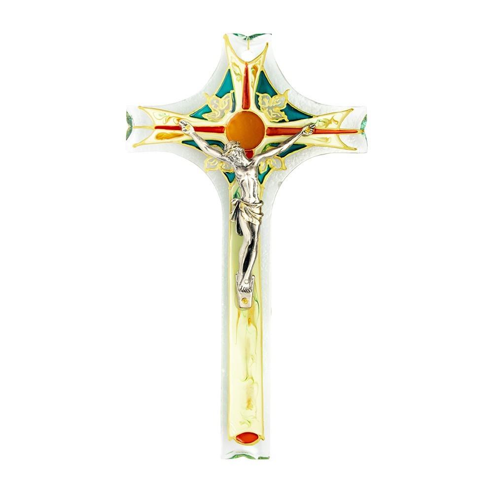 Crocifisso in Vetro Dipinto