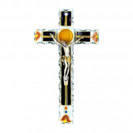 Crocifisso in Vetro Blu e Oro