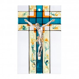 Quadretto in Vetro con Croce Dipinta