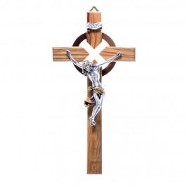 Crocifisso Legno e Cristo Resina Argentato