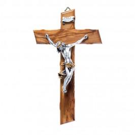 Croce Legno Ulivo e Cristo Argentato