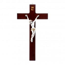 Croce Legno e Cristo Resina Bianca