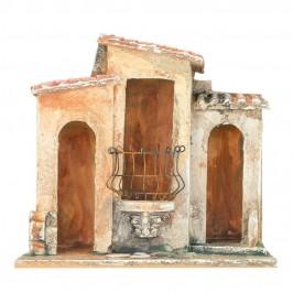 Borgo in Resina con Ringhiera in Metallo per il Presepe