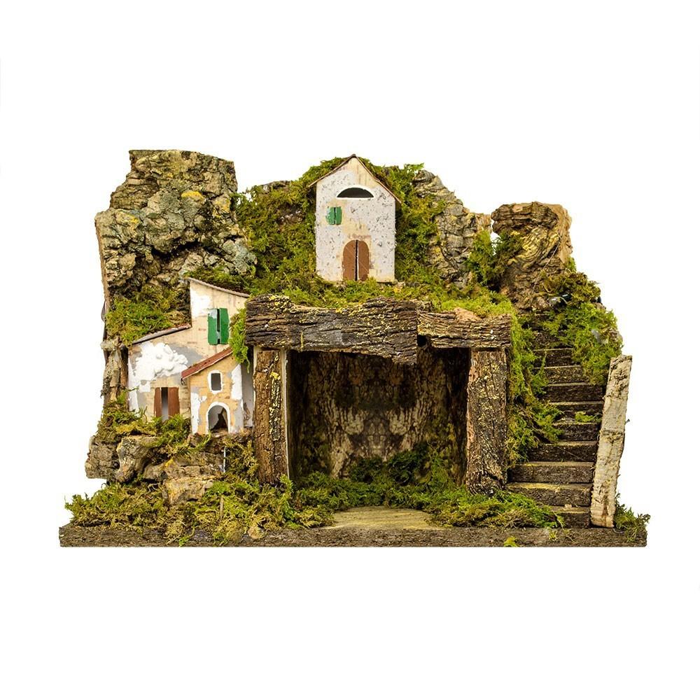Capanna Presepe con Borgo