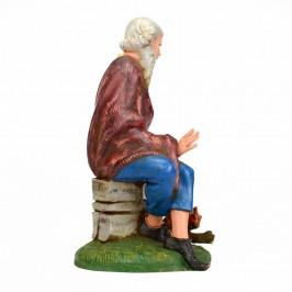 Pastore Seduto vicino al Fuoco Fontanini cm 30