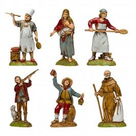Gruppo 6 Personaggi Napoletani per il Presepe