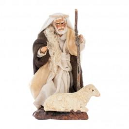 Anziano con Pecora in Terracotta cm 8