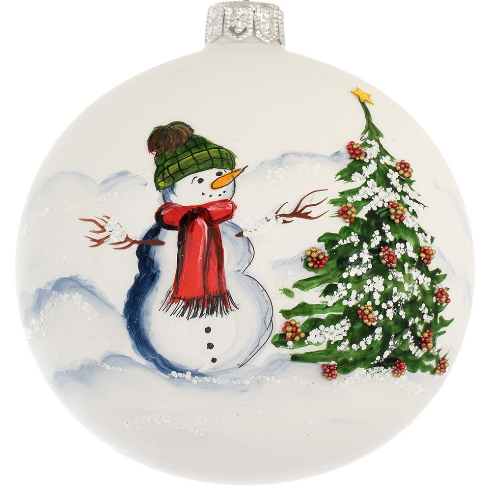 Palla Di Natale in Vetro Dipinta