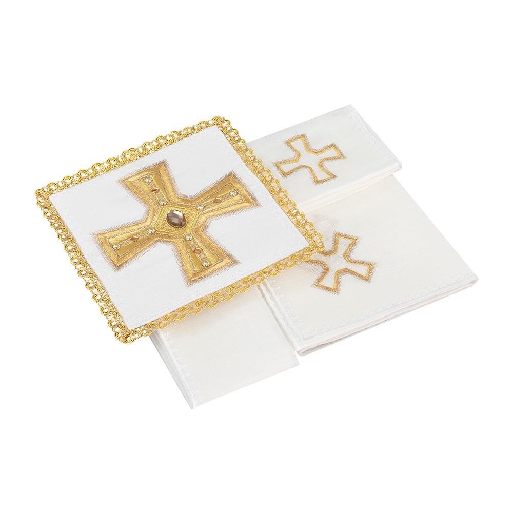 Servizio Messa Ricamo Croce Puro Lino