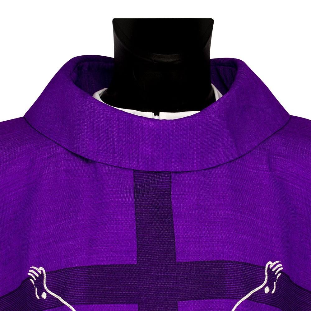 Casula Viola Con Croce e Immagine Gesù