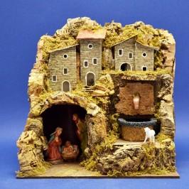 Casetta con Natività e Fontana per Presepe