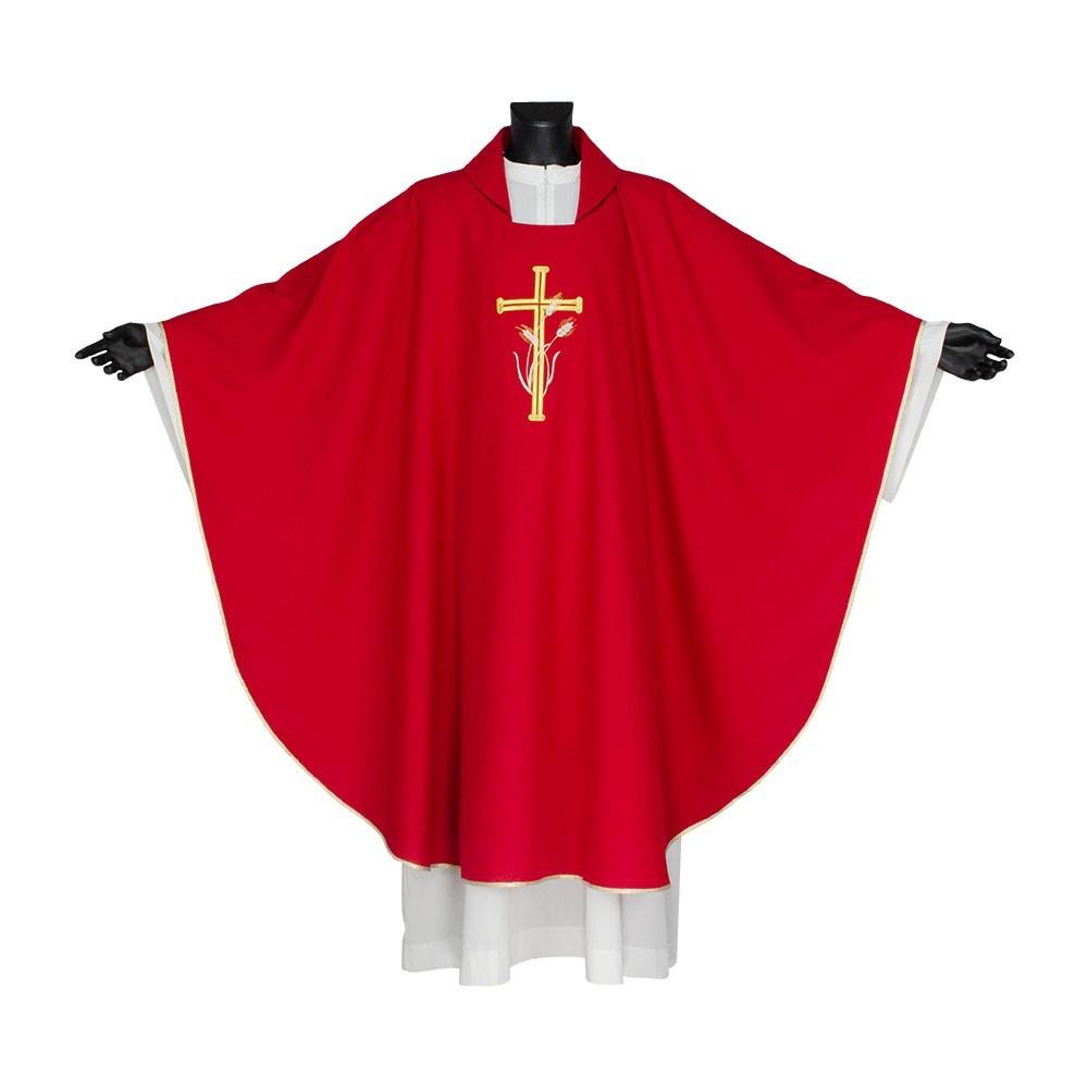Casula Liturgica Ricamo Croce e Spighe