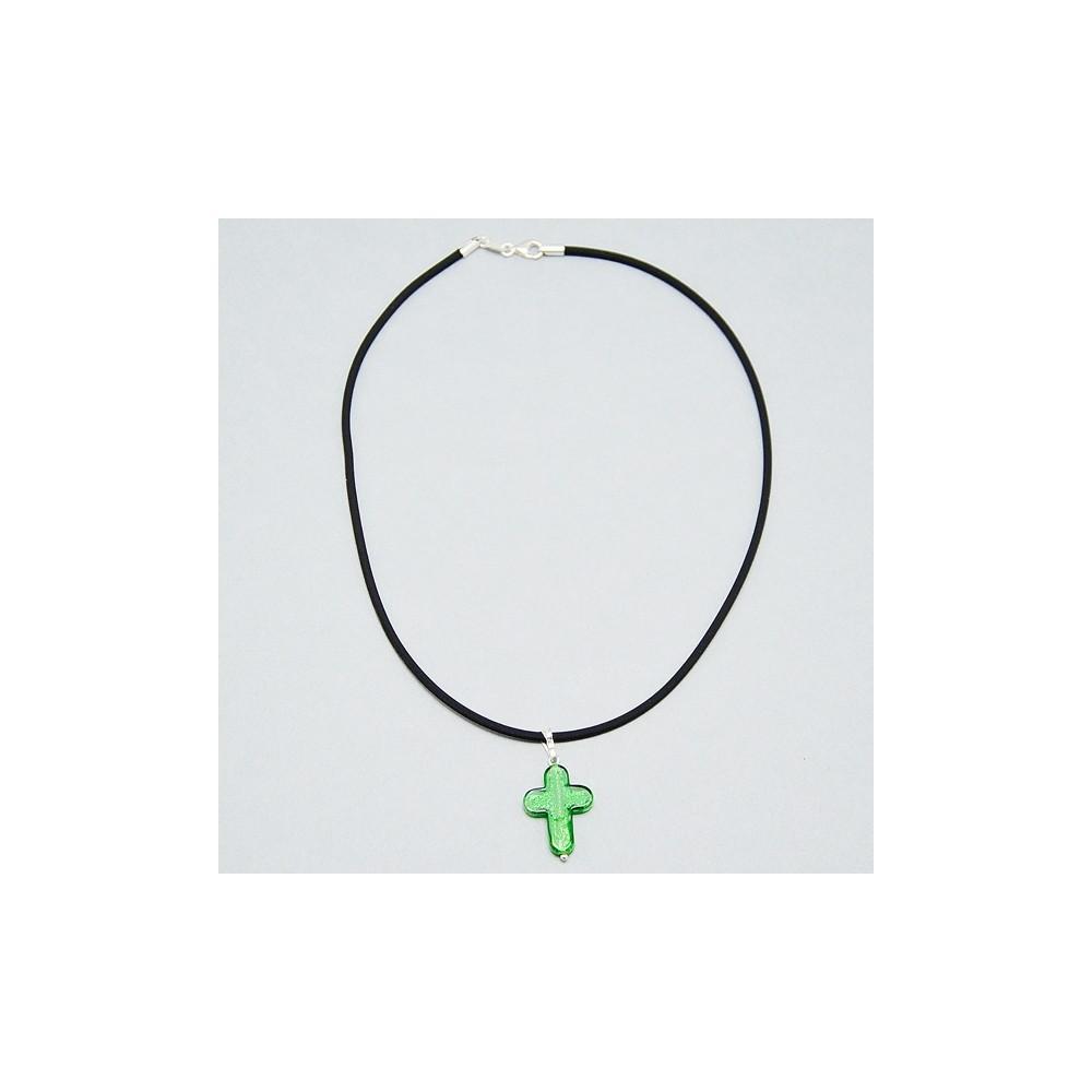 Collana con Croce in vetro