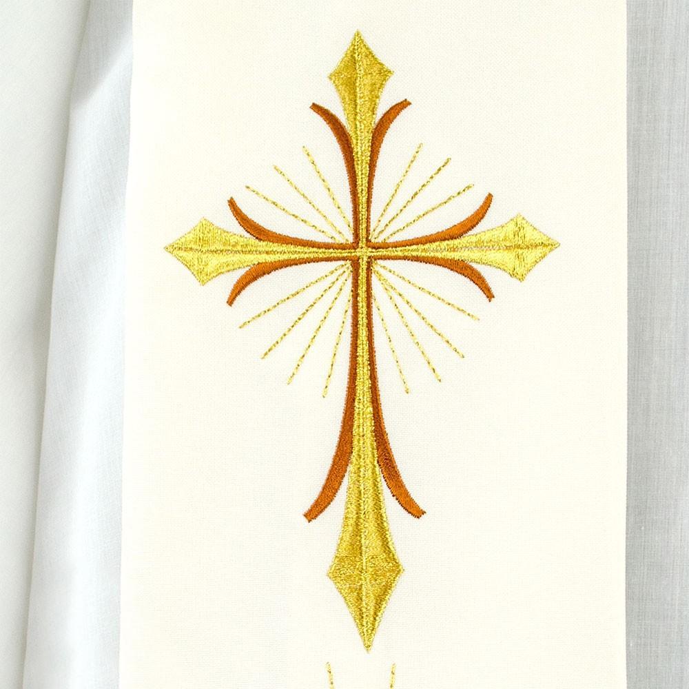 Stola Con Ricamo Croce e Calice