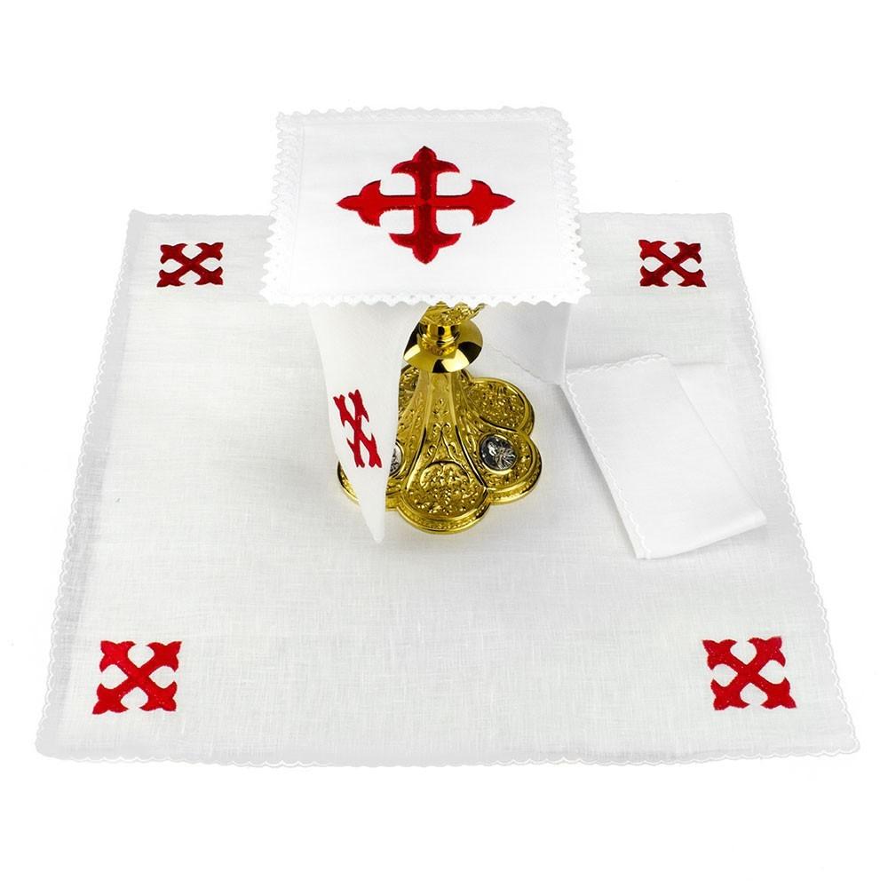 Set Messa con Ricamo Croce in filo Rosso