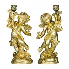 Coppia di Angeli Portacandela Oro