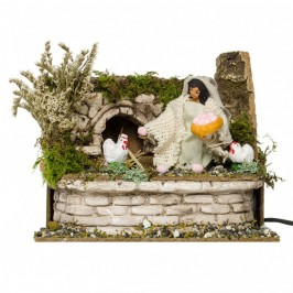 Donna con Galline Presepe Movimento