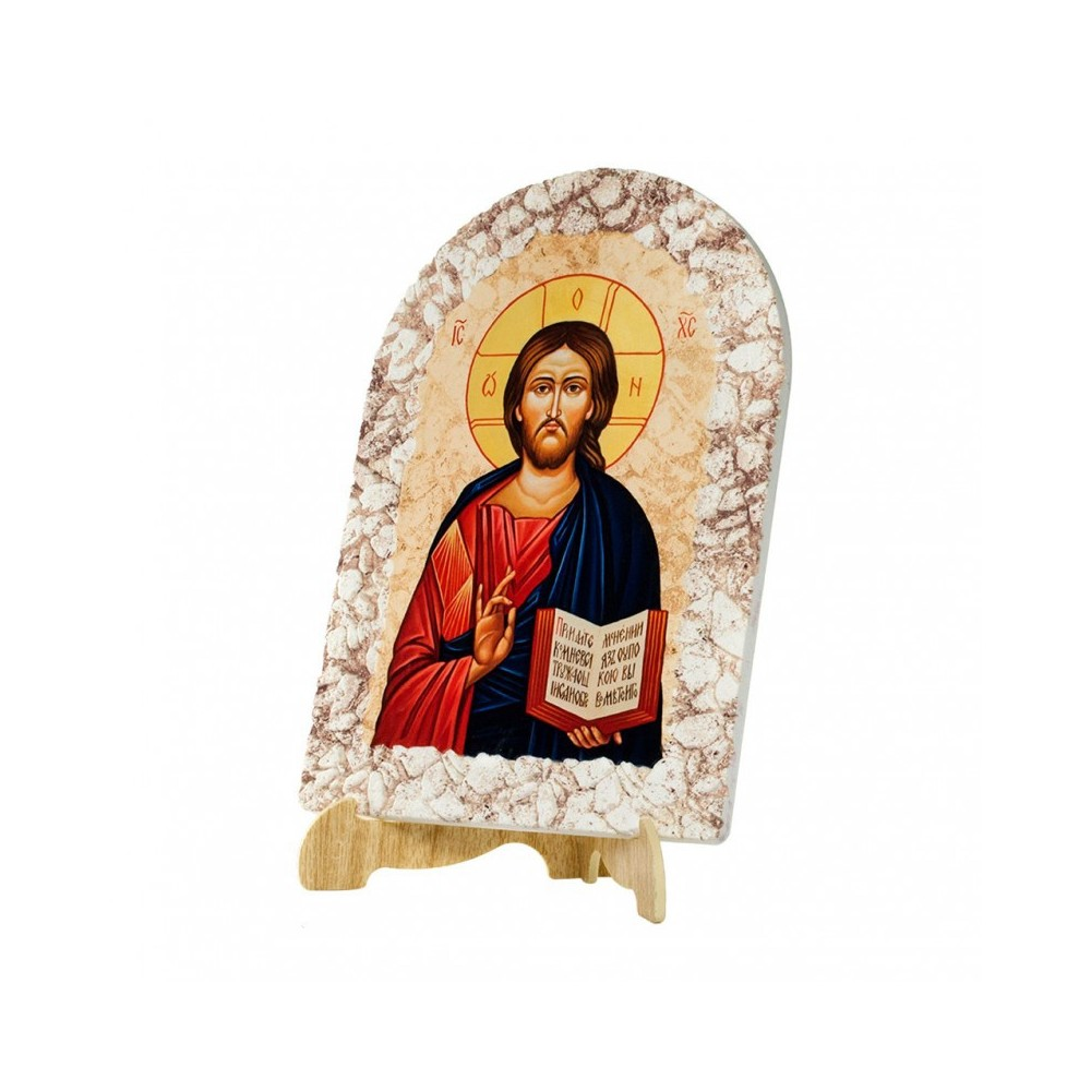 Quadro Effetto Pietra Gesù Pantocratore