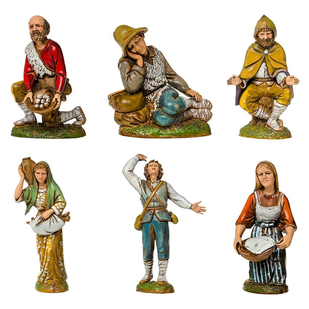 Gruppo di 6 Pastori del Presepe Landi 12 cm.