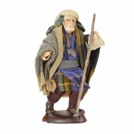 Uomo con Bastone in Terracotta cm 12