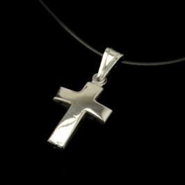 Collana Caucciù con Croce Argento