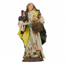 Donna Con Cesto in Terracotta cm 18