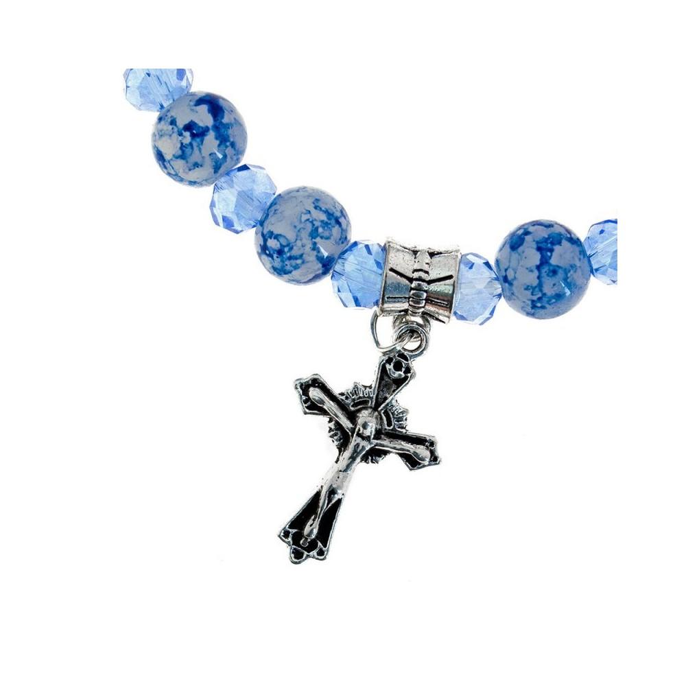 Bracciale Elastico con Grani in Vetro Blu
