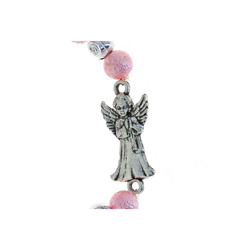Bracciale Grani Vetro Rosa con Angioletto