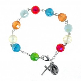 Bracciale con Grani in Cristallo Multicolor