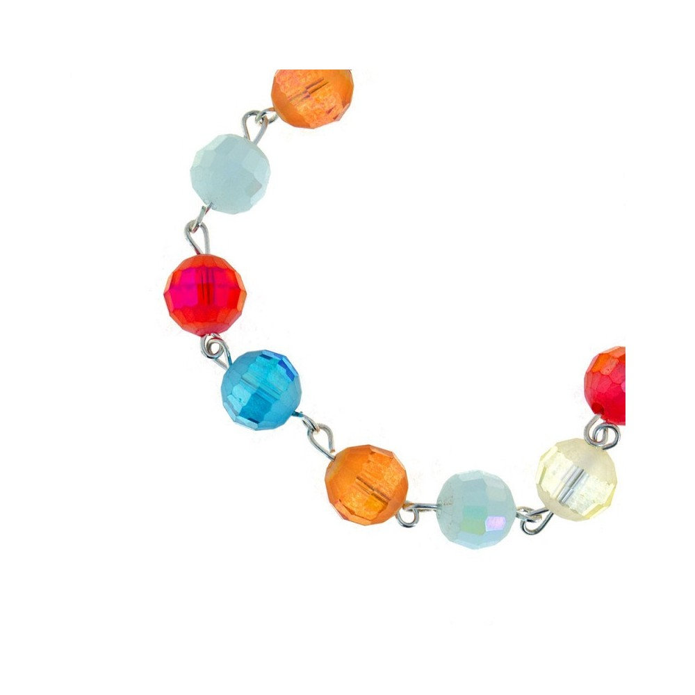Bracciale con Grani in Cristallo Multicolor
