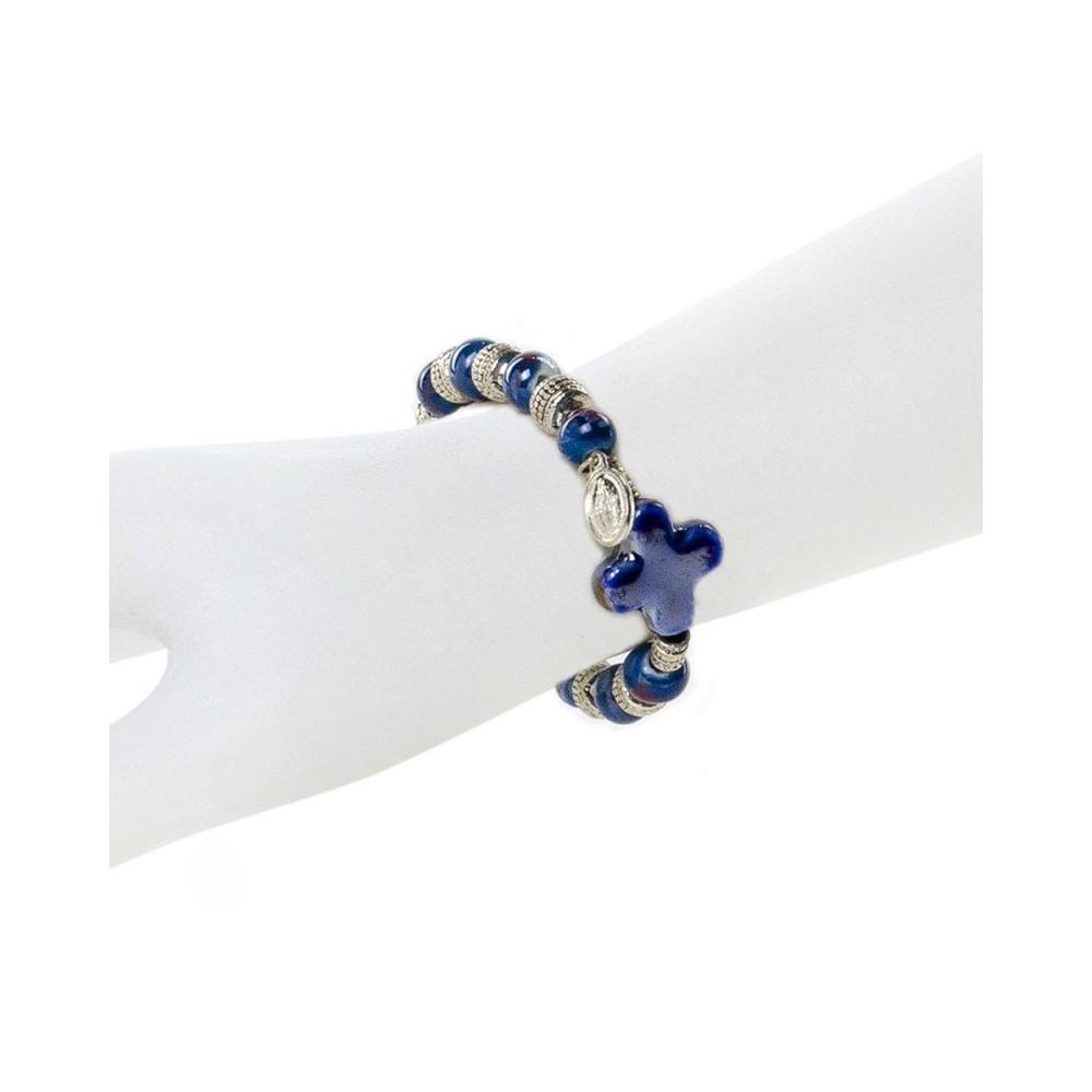 Bracciale con Grani Ceramica Blu