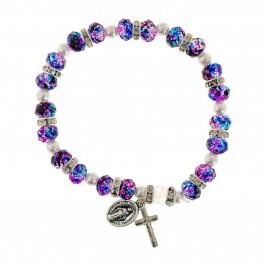 Bracciale Rosaro Grani Vetro Viola e Blu