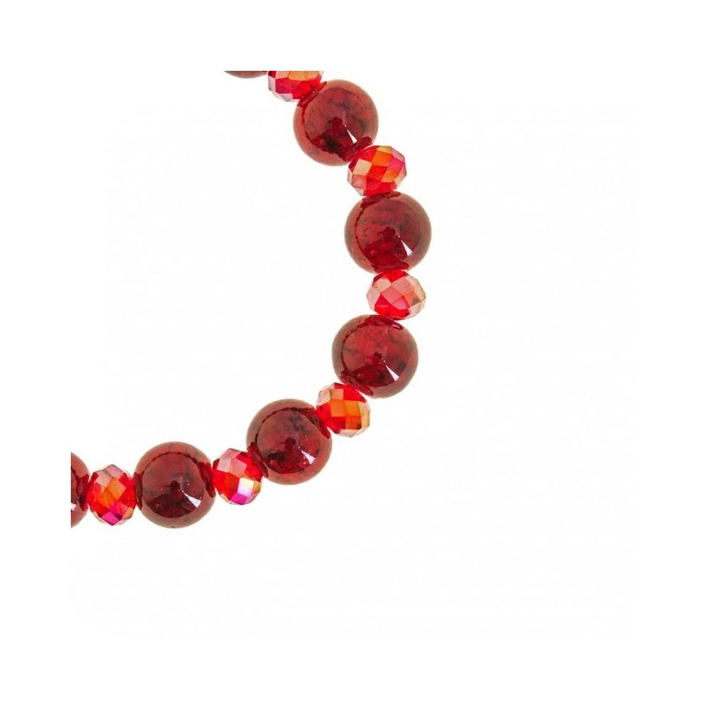 Bracciale Rosario Grani Vetro Rosso