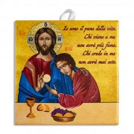 Piastrella Comunione Gesù con San Giovanni