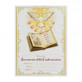 Diploma Cresima Colomba e Libro con Doni