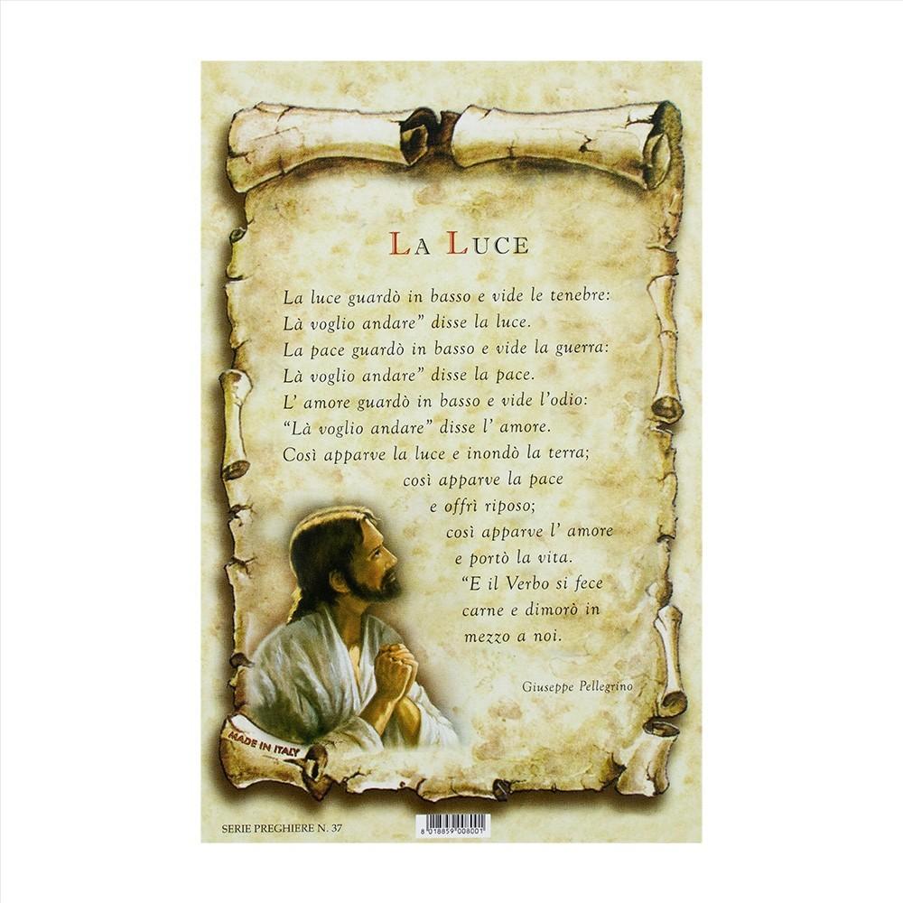 Cartoncino con Preghiera La Luce