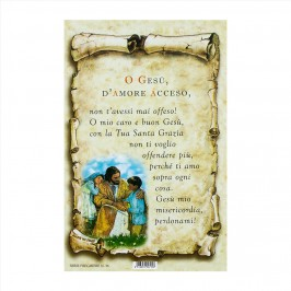 Cartoncino Preghiera O Gesù d'Amore Acceso