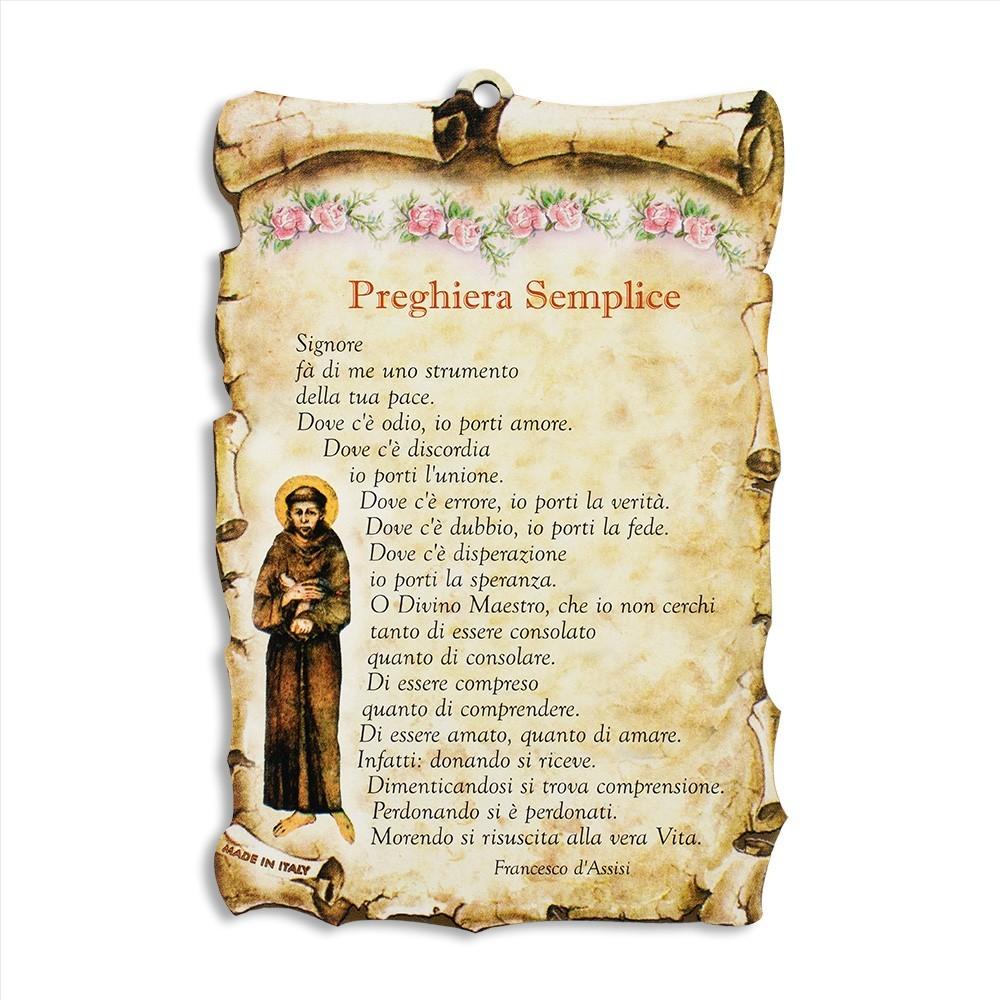 Quadretto Pergamena con Preghiera Semplice