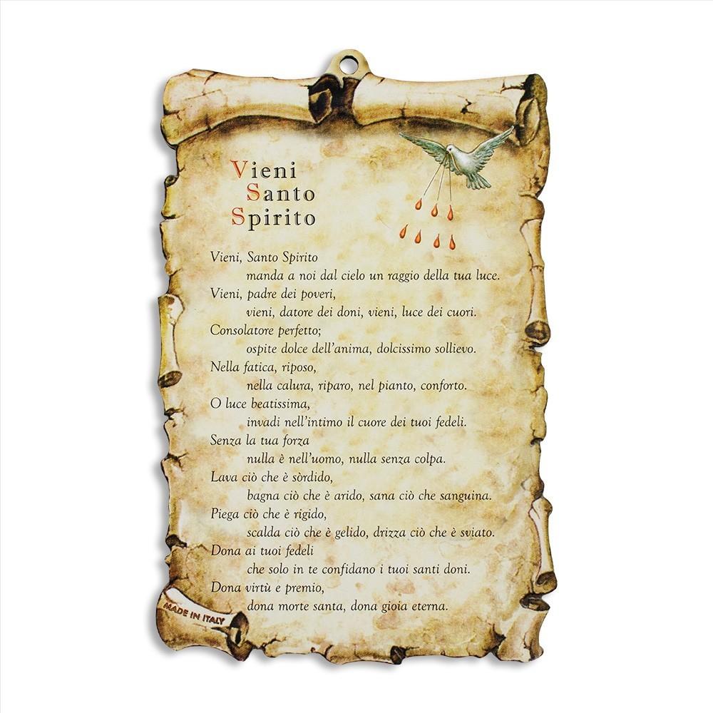 Quadretto Pergamena Vieni Santo Spirito